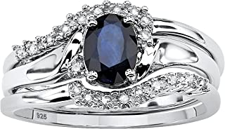 Platinum over Sterling Silver Oval Cut Genuine Midnight Blue Sapphire and Diamond Accent 3 Piece Bridal Ring Set