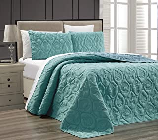 3-Piece Tropical Coast Seashell Beach QUEEN / FULL Oversize OVERSIZE Bedspread TURQUOISE / BLUE Reversible Coverlet Embossed Bed Cover set. Sea Shells, Sea Horse, Starfish etc.