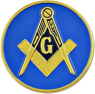 Square & Compass Round Masonic Blue & Gold Auto Emblem - 3