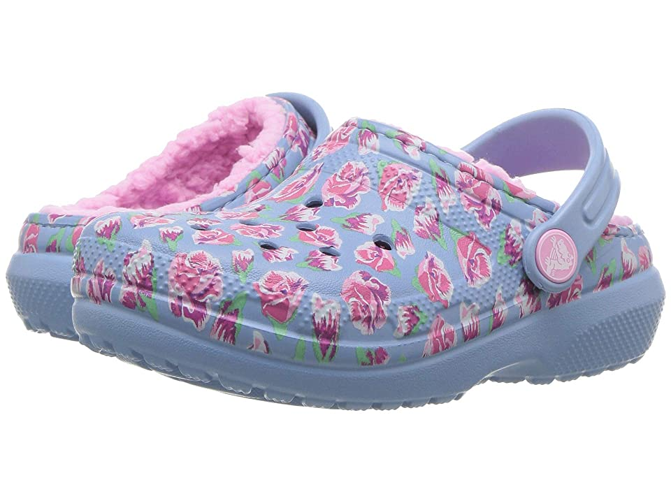 Crocs Kids Classic Lined Clog (Toddler/Little Kid) (Chambray Blue/Carnation) Kids Shoes