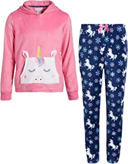 Girl's 2-Piece Coral Fleece Character Pajama Pant Set with Hoodie