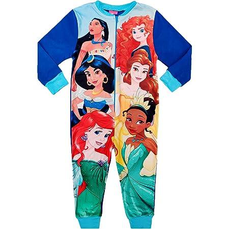 Girls Disney Princess Fleece Onesie All in One Pjs Pyjama Sleepsuit Kids 3-10 Years