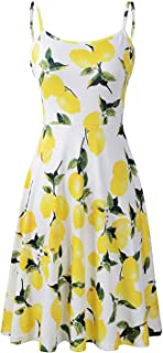 Koscacy Women's Summer Adjustable Strappy Floral Swing Empire Waist Dress
