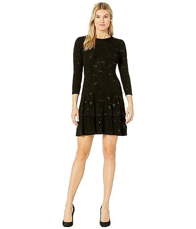 MICHAEL Michael Kors Sequin Jacquard Double Tier Dress (Black) Women