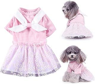 Brocarp Dog Dress, Puppy Tutu Skirt, Pet Pink Striped Flower Gauze Princess Dresses Clothes, Dog Sundress Apparel for Smal...