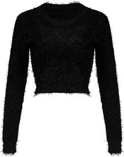 Joeoy Women's Fluffy Mohair Long Sleeve Knit Crop Top Sweater Jumper