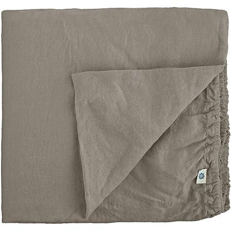 Linen & Cotton Drap Housse Extra Douce Alicia, 100% Lin Lavé - Taupe (140 x 200cm - Double)