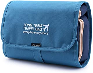 Allinside Hanging Toiletry Kit Detachable Travel Organizer Waterproof Bathroom Bag with 4 Departments to Store Toiletries for Men and Women - Blue