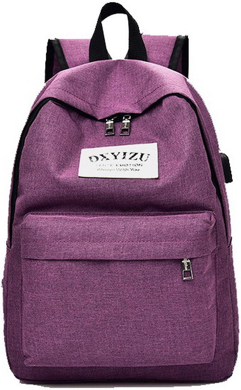 WeiPoot Women's Zippers Daypack Backpacks Casual School Canvas Backpacks, EGHBH181330, Purple