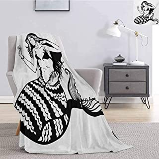 jecycleus Underwater Bedding Microfiber Blanket Mermaid Mythological Young Girl with Fish Tail Monochrome Classic Style Art Super Soft and Comfortable Luxury Bed Blanket W57 by L74 Inch Black White