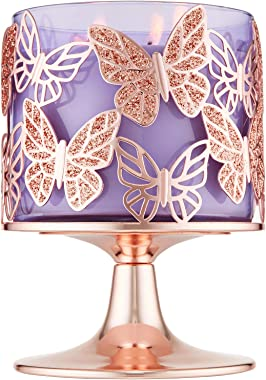 Bath and Body Works Rose Gold Glitter Butterflies 3-Wick Candle Holder