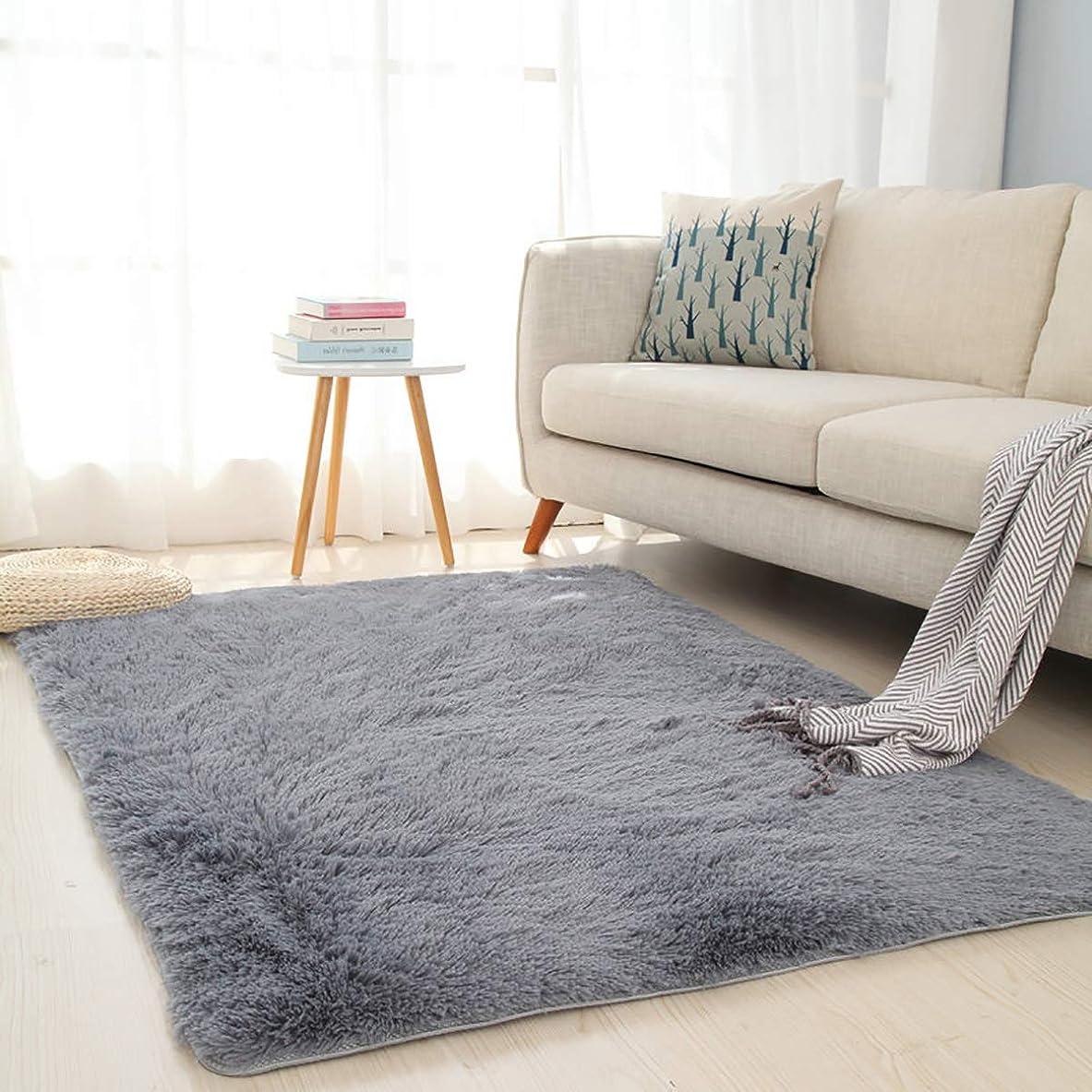 必要としている同行押すカーペット ラグ ラグマット センターカーペット 滑り止め付き 120×160cm (約1.2畳)特大サイズ「DouYun」洗える 長方形 絨毯 防音 抗菌防臭 防ダニ 床暖房対応 シャギーラグ 絨毯 滑り止め付き ふわふわ サラサラ 長方形 グレー