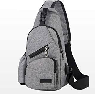 Coolpin Outdoor Sports Chest Bag Sling Backpack with USB Charging Port Polyester Multipurpose Gym Shoulder Bag