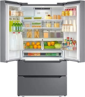 """Smad Counterdepth French Door Refrigerator Bottom Freezer 36"""" Refrigerator Stainless Steel, 22.5 Cu.Ft, with Auto Ice Maker"""