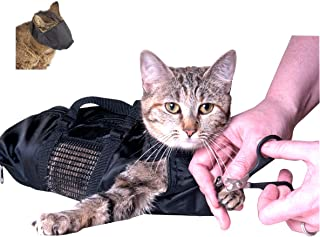 Downtown Pet Supply Cat Grooming Restraint Bags with Muzzle or Individual Cat Grooming Muzzle (Small, Medium, or Large)