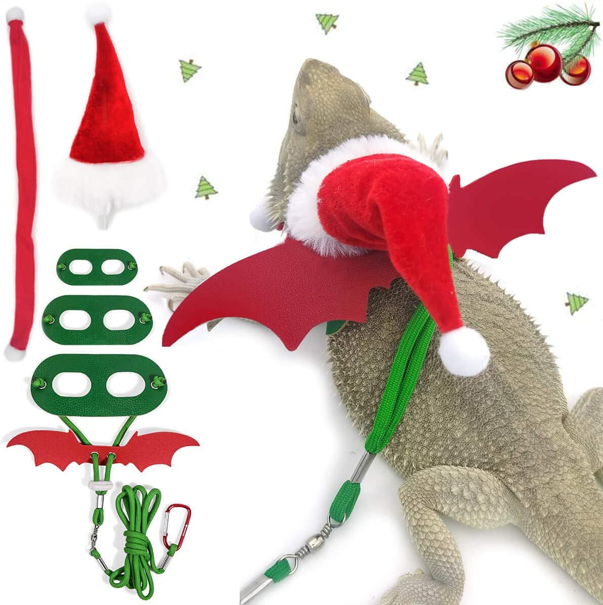 WATFOON Santa Hat Scarf Set with Lizard Size OFFicial store Ranking TOP18 Harness Pac Leash 3
