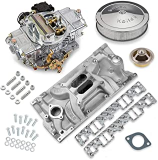 NEW HOLLEY STREET AVENGER CARBURETOR & STREET WARRIOR VORTEC MANIFOLD COMBO,670 CFM,STRAIGHT,4 BBL,GASOLINE,VACUUM SECONDARIES,ELECTRIC CHOKE,COMPATIBLE WITH SMALL BLOCK CHEVY VORTEC