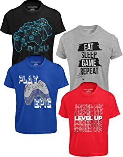 4-Pack Boys Short Sleeve Crew Neck T-Shirt with Chest...
