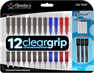Thornton's Office Supplies ClearGrip Mechanical Pencil Starter Set, 0.7mm, Assorted Colors, Pack of 12 0.7mm Assorted Business Colors