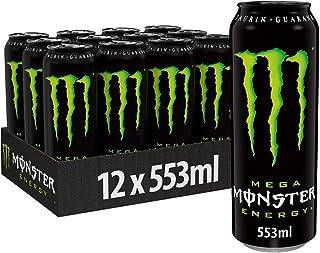Monster Energy Mega mit klassischem Monster Geschmack - für mehr Energie mit extra viel Inhalt, Energy Drink Palette, wiederverschließbare EINWEG Dose 12 x 553 ml