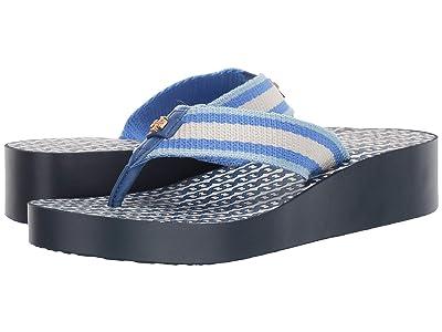 Tory Burch Gemini Link Wedge Flip-Flop (Bondi Blue/Bondi Blue) Women