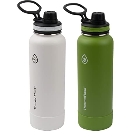 Thermoflask - Botella de agua de acero inoxidable aislada al vacío, doble pared, 2 unidades