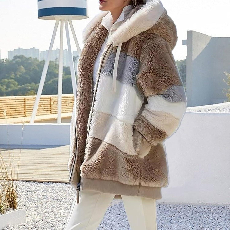 Women Hooded Cardigan Fuzzy Jacket Open Front Hooded Winter Oversized Color Block Faux Fur Jacket Coat with Pocket