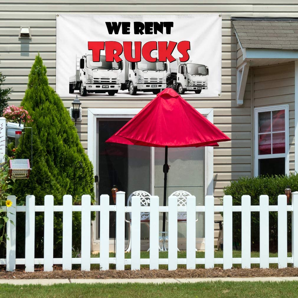 Vinyl Banner Multiple Sizes We Rent Trucks Auto Car Vehicle F Business Outdoor Weatherproof Industrial Yard Signs White 10 Grommets 60x144Inches