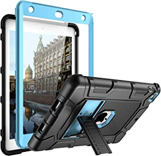 iPad 6th Generation Cases, iPad Case, iPad 9.7 Inch Case,Built-in Screen Protector Kickstand Anti-Drop Dual Layer Hybrid Rugged Full Body Protective Cover for iPad 9.7 Inch 2018/2017 (Black Blue)