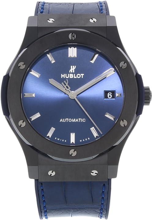 Orologio hublot classic fusion ceramica blu 45mm mens watch 511.cm.7170.lr