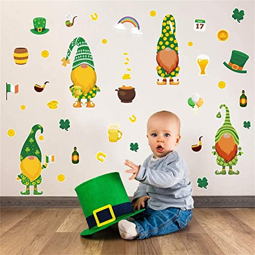 wholesale St. Patrick's Day Window Clings Spring Shamrock Clover Leprechauns Gnome Wall Decals Lucky Day Decorations Window Stickers for Home discount Party lowest Decorations outlet online sale