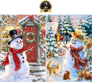 5D Diamond Painting Kits Full Drill DIY Embroidery Wall Sticker for Wall Decor Smowmen with Christmas Tree 12x16inch