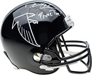 Deion Sanders Atlanta Falcons Autographed Riddell Throwback Black Full Size Replica Helmet with