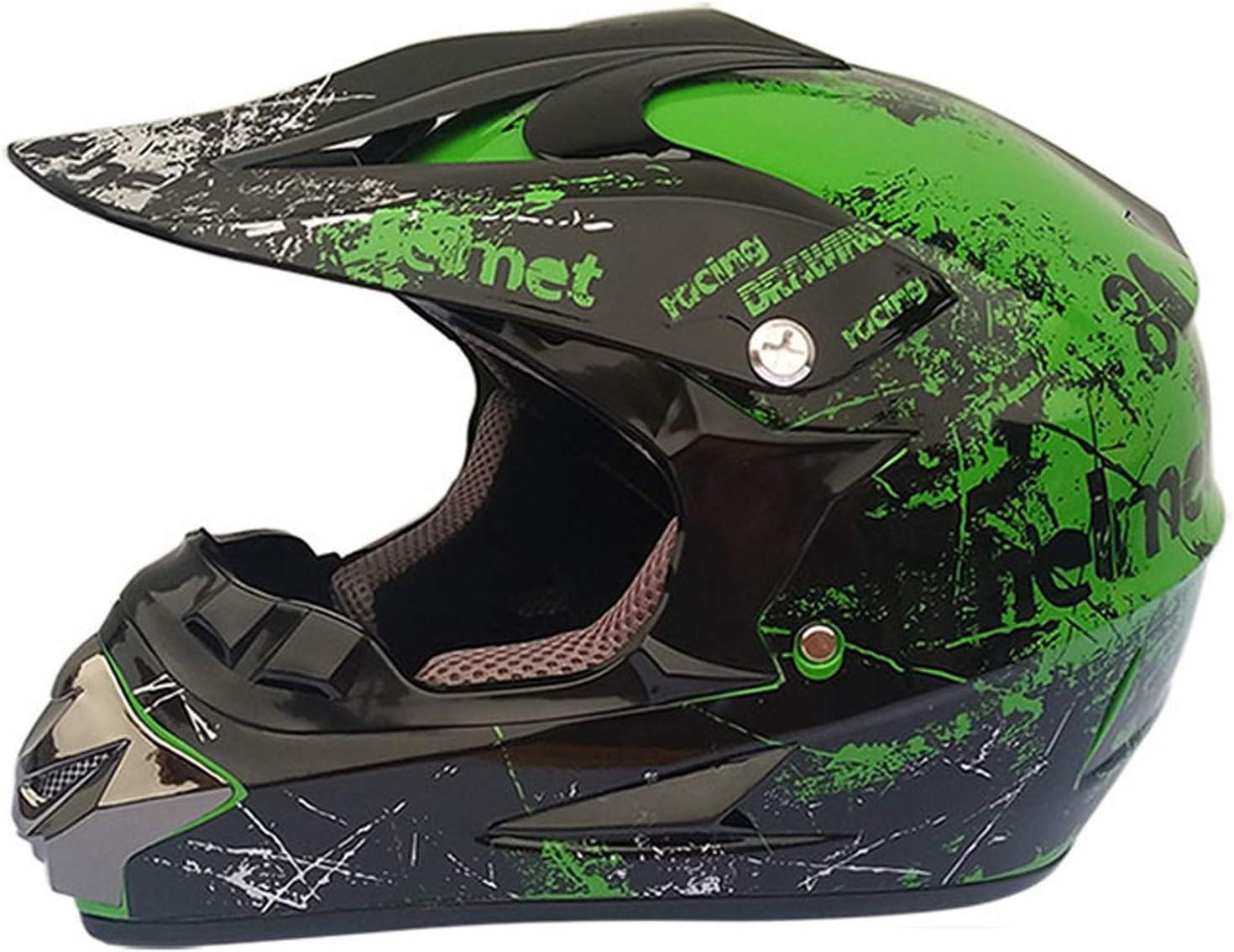 MGYQ Fuera De La Carretera Casco Casco de Moto Todoterreno para Hombre con Estampado Impreso Casco Integral de Motocross con Gafas máscara y Guantes, Unisex