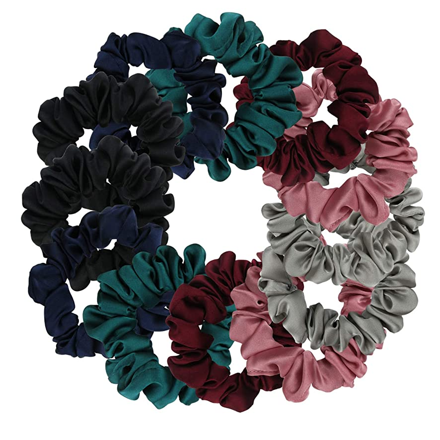 Satin Scrunchies, BETITETO Set of 12 Soft Ponytail Holder Bobbles Hair Scrunchy Vintage Hair Bands Ties for Women Girls (Multicolored-Small)