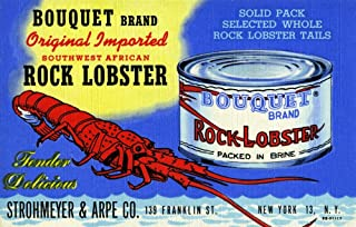 Can of Bouquet Brand original imported Southwest African Rock Lobster shown on a vintage advertising postcard by Strohmeyer & Arpe of New York Poster Print by Curt Teich & Company (24 x 36)