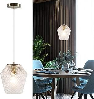 TeHenoo Geometric Mini Pendant Lighting,Antique Brass Pendant Lighting Fixture with Vase Shape Glass Shade for Living Room, Bedroom, Kitchen, Loft Art Deco, Study, Bar, Café