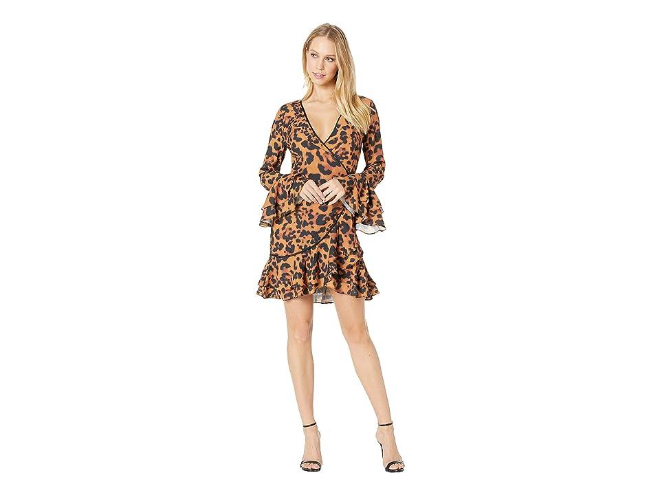 Bebe Denise Ruffle Wrap Dress (Dornish Cat 1) Women