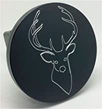 "product image for HMC Billet Deer, Buck Aluminum 5"" Laser Engraved Trailer Hitch Cover"