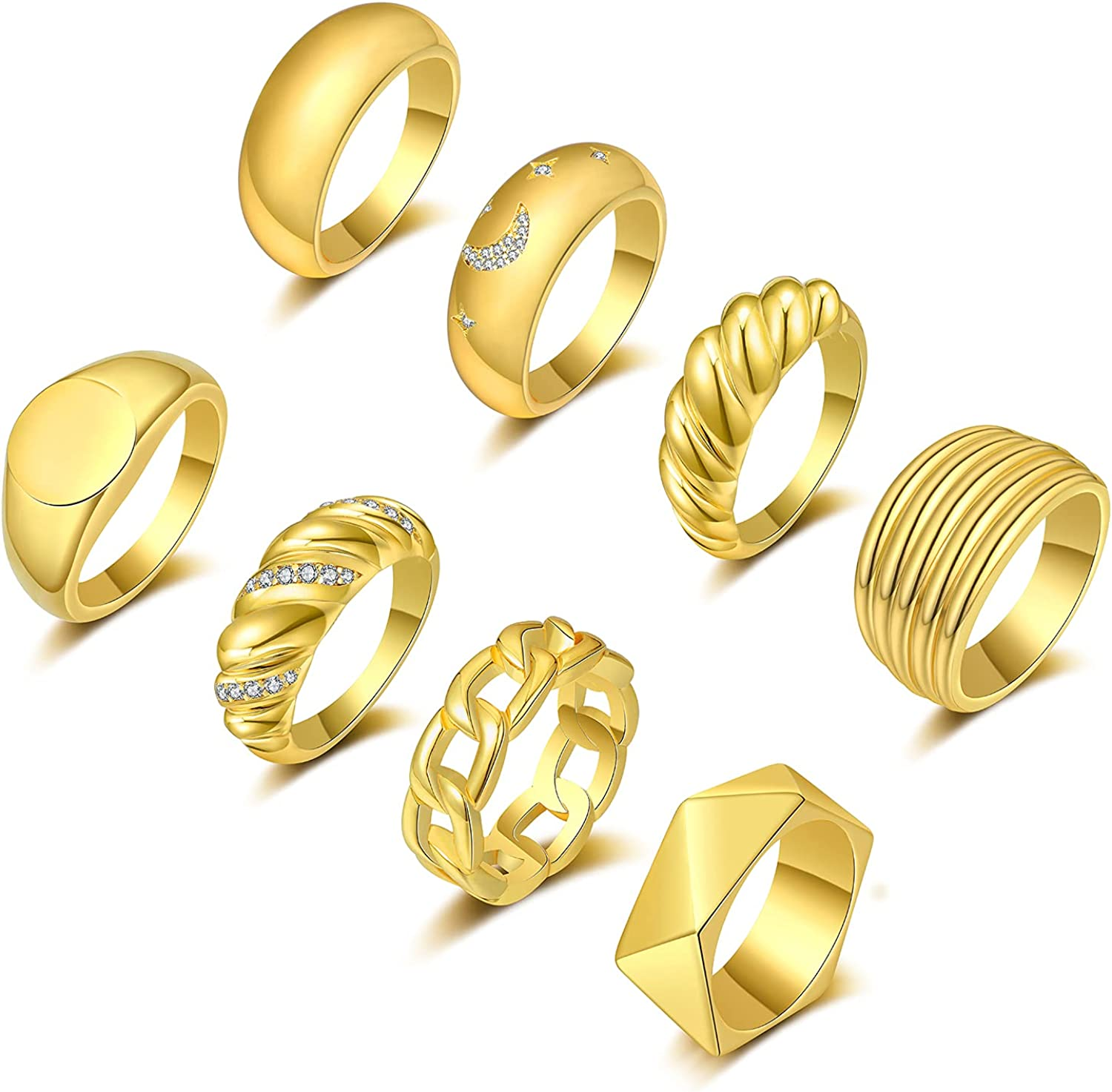 FUNEIA 8Pcs 18K Gold Plated Chunky Rings for Women Cubic Zirconia Moon Star Thick Dome Signet Rings Braided Twisted Gold Ring Set Croissant Minimalist Statement Rings Size 5-9