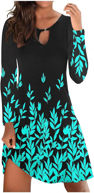 ONHUON Sundress for Women Summer,Women's Casual Dress Round Neck T Shirt Tank Short Hollow Out Beach Mini Dress