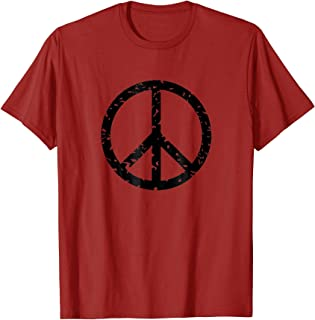 Distressed Vintage Peace Sign Tee Shirt Trendy Hippy T-Shirt