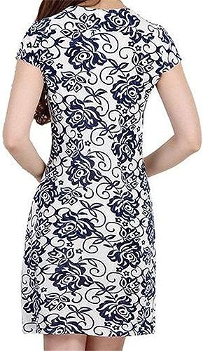 MJY Robe imprimée ethnique à hommeches courtes et à col en V pour femmes 'Fashion femmes',Bleu,US-  Petit