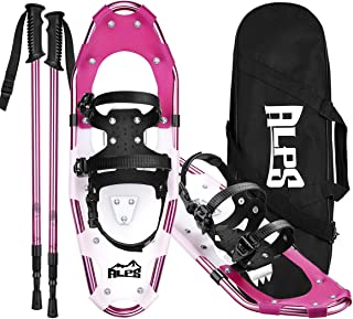 ALPS Lightweight Snowshoes Set for Women,Girls+Trekking Poles,Carrying Tote 14