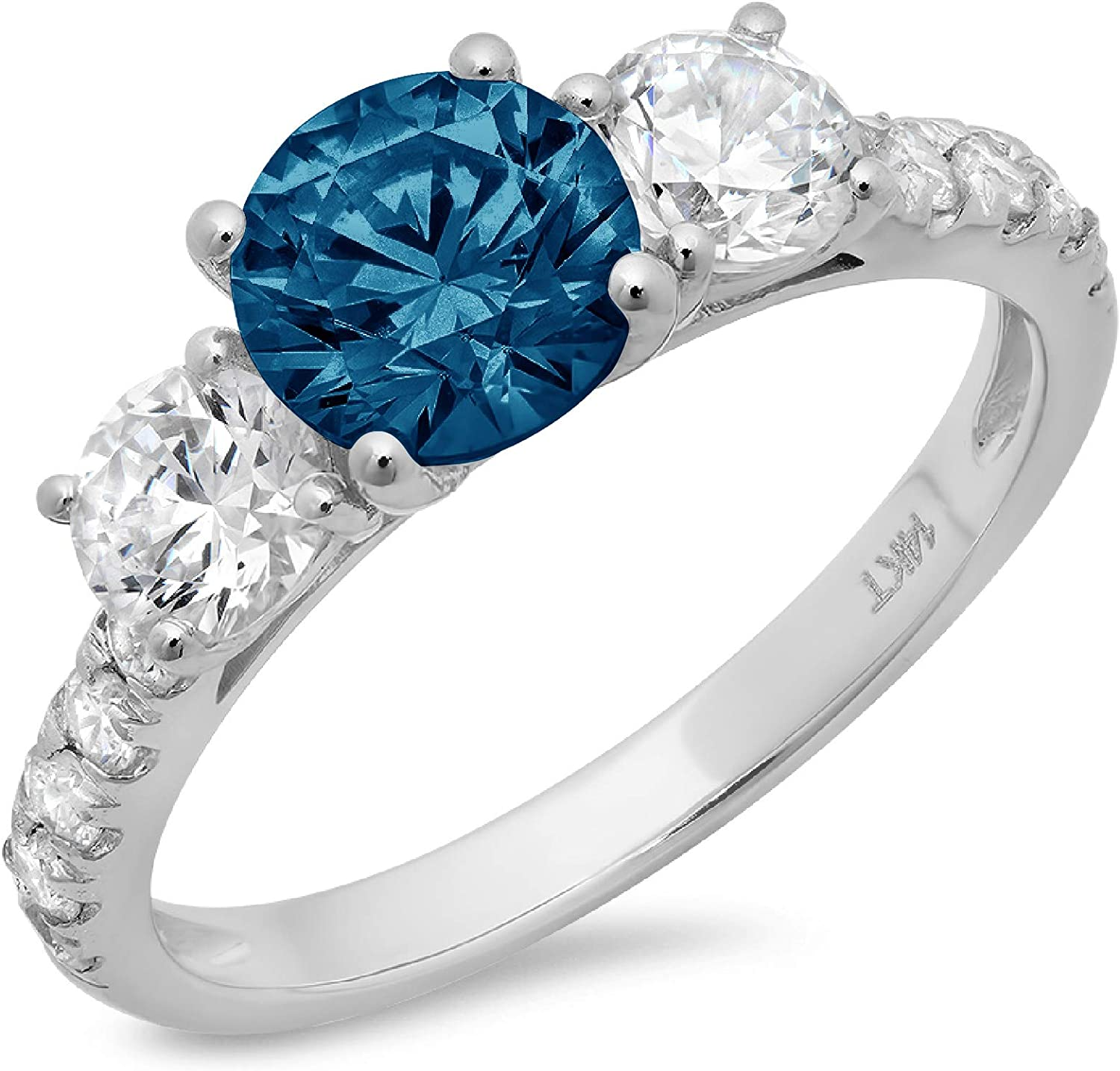 1.94ct Brilliant Round Cut Solitaire 3 stone With Accent Natural Royal Blue Topaz Gem Stone Ideal VVS1 Engagement Promise Statement Anniversary Bridal Wedding ring 14k White Gold