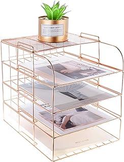 LEORISO Support de rangement de bureau multifonctionnel à 4 couches, plateau de porte-documents empilable, Or rose