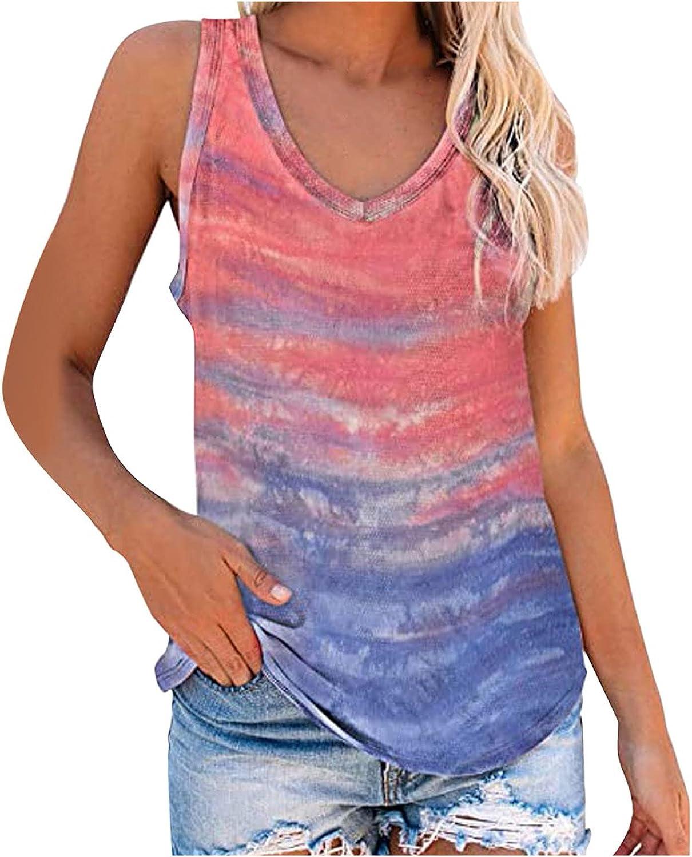 Women's Tie-Dye Tops Summer Casual Tanks Tops Fashion V-Neck Loose Sleeveless Tee T-Shirt