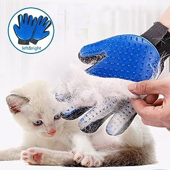 STARROAD-TIM Pet Grooming Glove Hair Remover Brush Gentle Deshedding Efficient Pet Mitt Pet Massage Gloves Left & Right Hand Draw Dog Cat Horse Long Short Fur (1Pair Left & Right Hand (Blue))