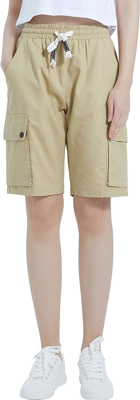XinYangNi Women's Cargo Shorts Elastic Great interest Drawstring In a popularity Cotton L Waist