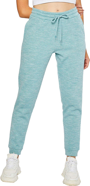 esstive Women's Ultra Soft Fleece Comfortable Basic Lightweight Casual Active Workout Solid High Rise Jogger Sweatpants